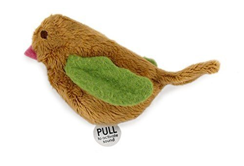 "SmartyKat Chickadee Chirp cat toy with bird sounds and label ""pull to active sound""."