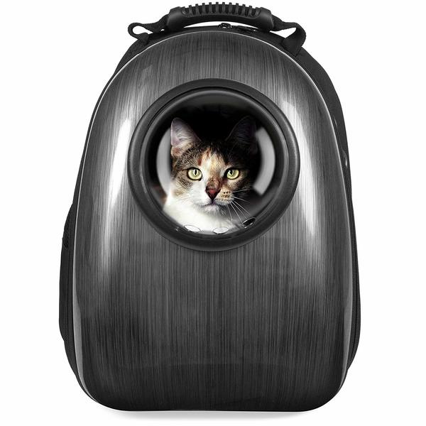 Best Choice bubble window backpack with black plastic cover and cat inside the bubble window.