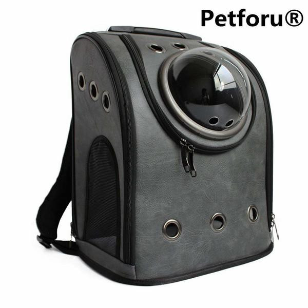 Leather Petforu cat travel bag with bubble window and lots of ventilation holes.