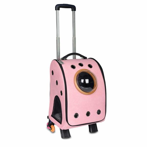 Pink Pettom cat nubble backpack with a handles and wheels.