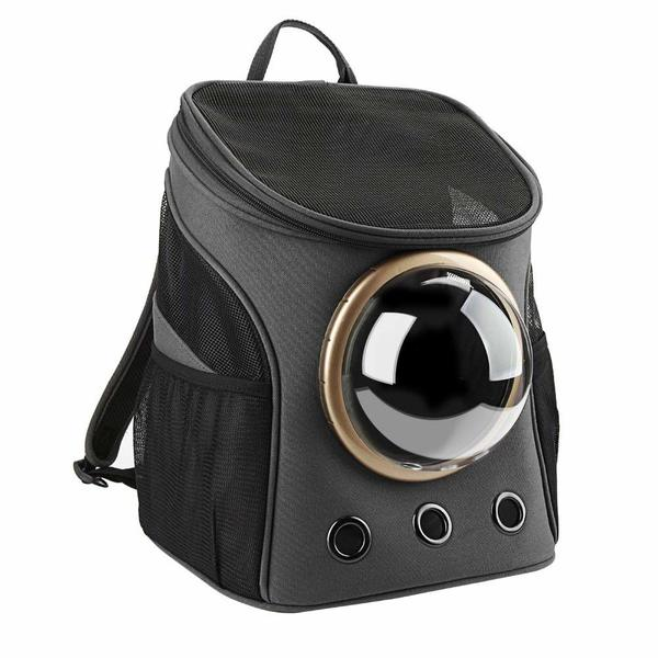Texsens' breathable bubble backpack for cats in black color.
