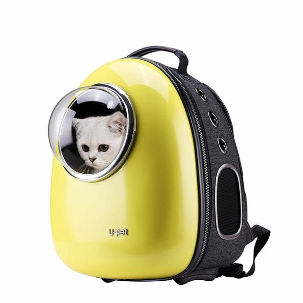 U-Pet Innovative Cat Carrier in yellow color with bubble window and a cat inside.