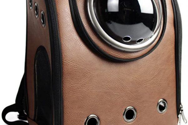 Brown leather bubble backpack by Petforu.